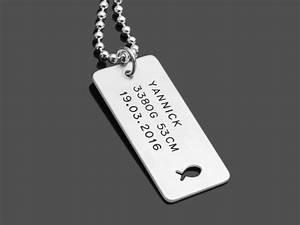 Dog Tag Gravur : geburtskette dog tag ichthys 925 silber namenskette mit gravur ~ Buech-reservation.com Haus und Dekorationen