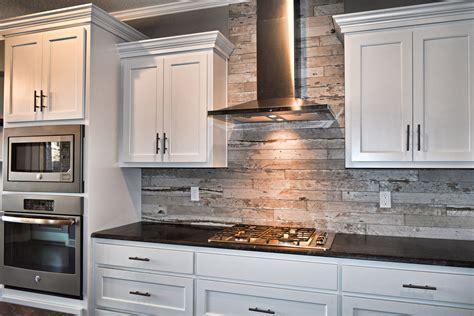 Kitchen Backsplash Cabinets by White Cabinets Wood Look Tile Kitchen Backsplash Flat