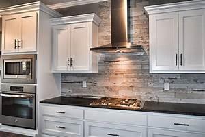 White, Cabinets, Wood, Look, Tile, Kitchen, Backsplash, Flat, Panel, Cabinets, White, Kitche, U2026