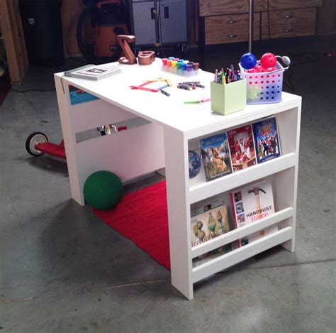 Toddler Desk With Storage by White Storage Leg Desk Diy Projects