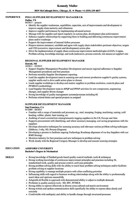 Vendor Development Manager Resume by Supplier Development Manager Resume Sles Velvet