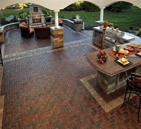 unilock outdoor kitchens patio of a outdoor kitchen with unilock s copthorne brick