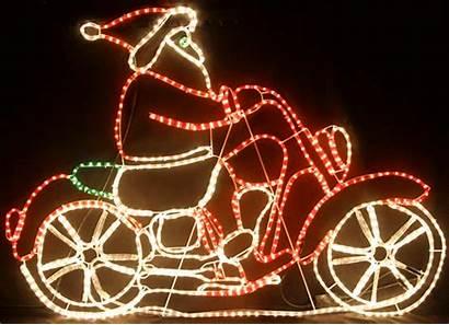 Santa Motorcycle Christmas Lights Rope Riding Led