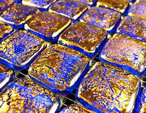 Fuoco, 222, Gold, Blue, Designer, Murano, Glass, Italian, Mosaic, Tiles