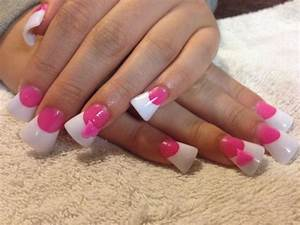 Pink and white acrylic nails | Nails | Pinterest | White ...