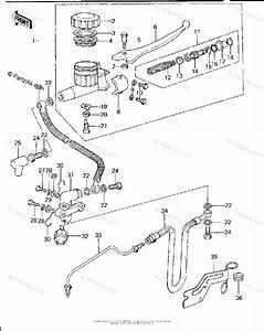 Kawasaki Motorcycle 1977 Oem Parts Diagram For Front Master Cylinder  Kz650