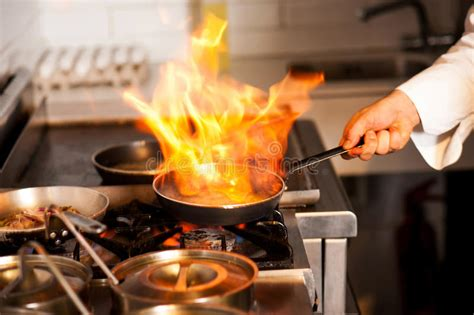 chef cooking  kitchen stove stock image image