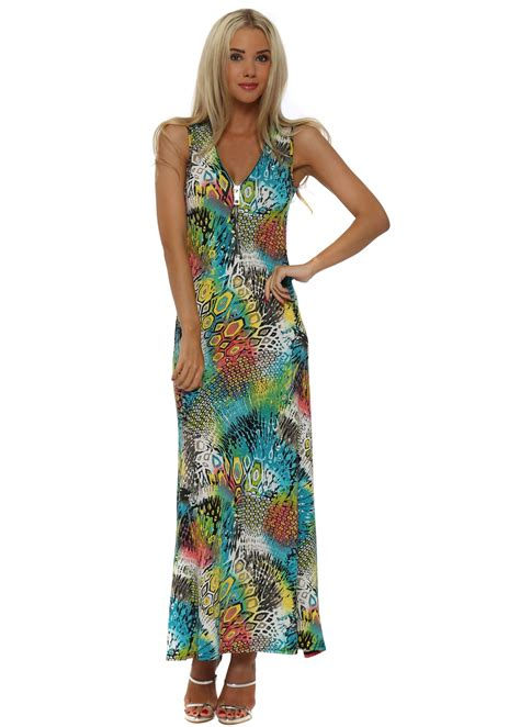 fas tifaine blue abstract shapes print maxi