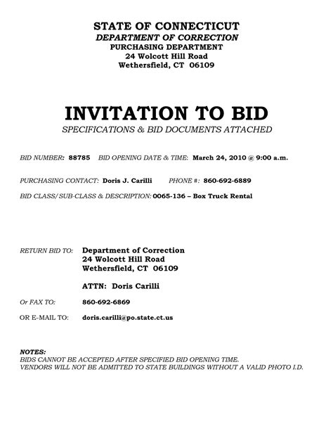 Invitation For Bid Template  Best Template Collection