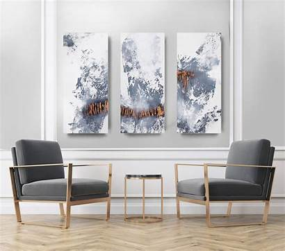 Triptych Abstract Canvas Acrylic Wall