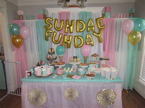 ice cream social gender reveal dessert table sundae funday