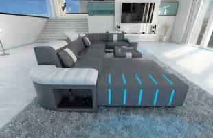 big sectional leather sofa bellagio u with led lighting colour selection - Sofa Grau Leder