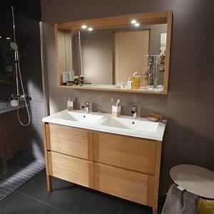 meuble de salle de bains imitation chene naturel fjord With salle de bain naturel