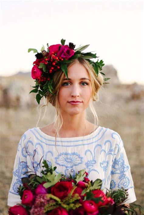 Red Headpiece Flower Crown Updo Wedding Hairstyle MODwedding