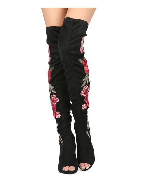 colorful thigh high boots hg47 faux suede peep toe thigh high floral