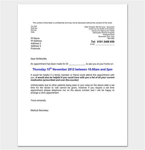 doctor appointment letter  patient  letter templates