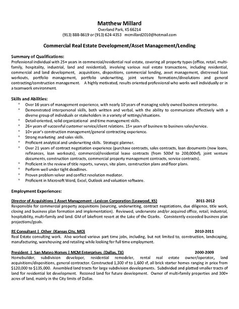 Property Manager Resume by Commercial Property Manager Resume