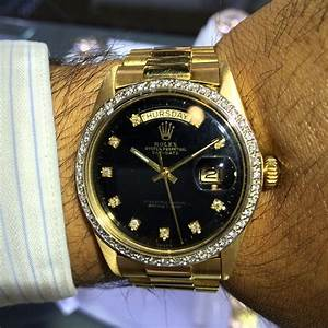 Rolex 1803 18k Gold President Black Diamond Dial Mens ...