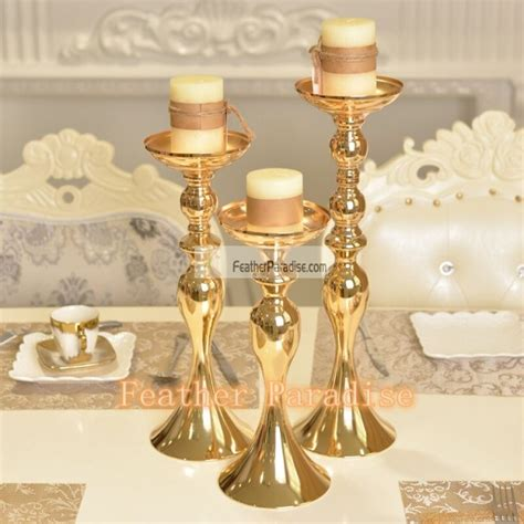 glass pillar candlestick gold metallic centerpieces wholesale floral stand wedding