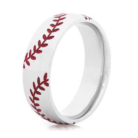 stitch baseball ring sports wedding rings