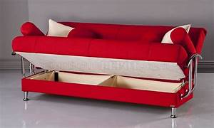 red microfiber modern living room sofa bed w storage With red modern sofa bed