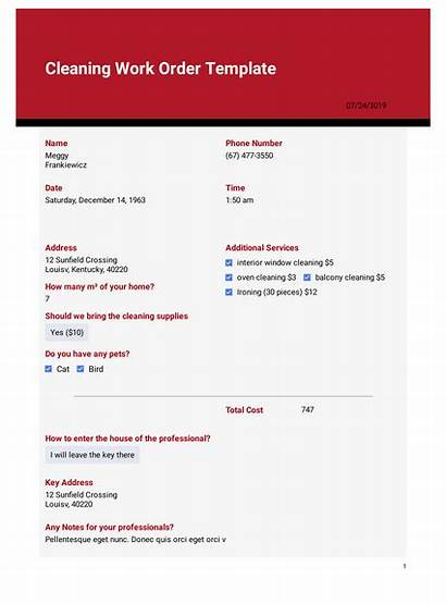 Cleaning Order Template Templates Jotform Form Pdf