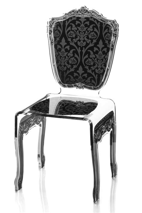 chaises baroque chaise plexiglas transparent baroque motif noir