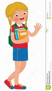 Little Girl Going To School Clipart - ClipartXtras