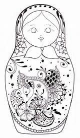 Coloring Russian Doll Sheets Dolls Printable sketch template