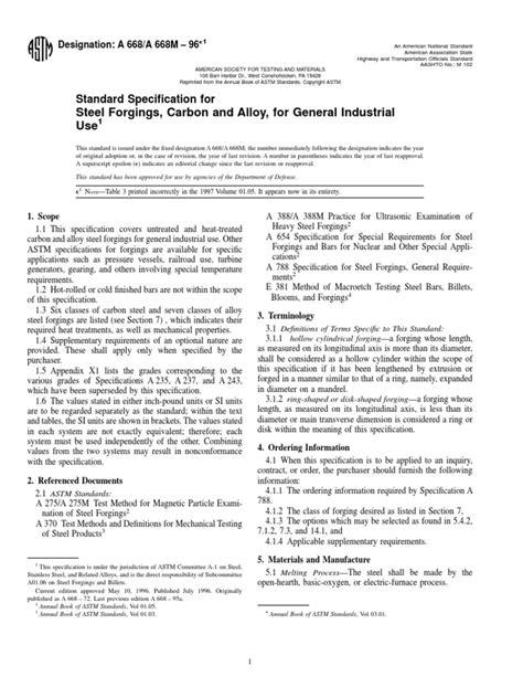 ASTM A668.PDF | Forging | Heat Treating