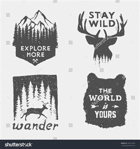 set wilderness hand drawn typography posters stock vector 282913994 shutterstock