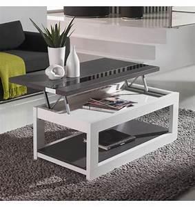 table basse bois blanche deco et saveurs With deco cuisine pour table basse relevable