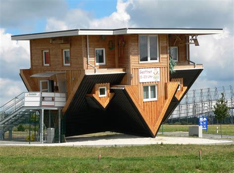 Unique Inverted Architectural House Design With Wooden