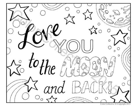 I You To The Moon And Back Kleurplaat by Coloring Page Digital You To The
