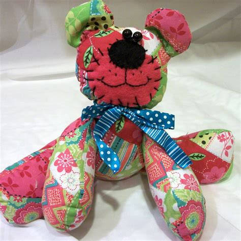 sugarbeansboutique pink patchwork bear