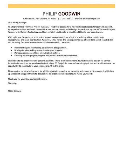 Cover Letter For Project Manager Application by Amazing Technical Project Manager Cover Letter Exles