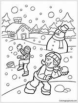 Playing Snow Winter Coloring Drawing Printable Coloringpagesonly Getdrawings Nature sketch template