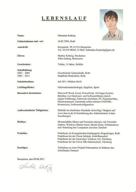 Lebenslauf Muster by Muster Lebenslauf Word Muster Lebenslauf F 252 R Praktikum