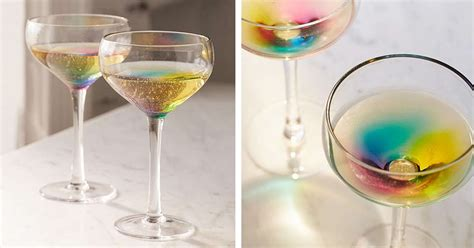 coupe cocktail glass   rainbow glass
