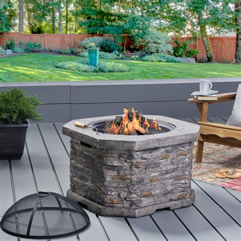 """Fire pits offer a unique centerpiece for your favorite outdoor space. Gina Outdoor 32"""" Wood Burning Light Weight Concrete Octagon Fire Pit, Grey - Walmart.com ..."""