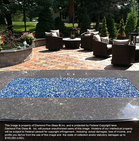 Electric Blue Reflective Diamond Fire Pit Glass  1 Lb Crystal