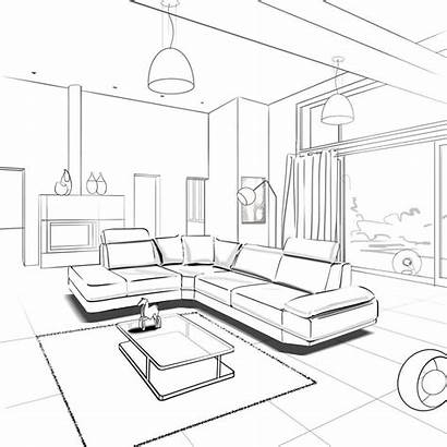 Perspective Drawing Interior Living Sketches Architecture Sketch