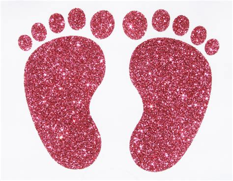 Ironon Fabric Glitter Christening Baby Feetfootprints