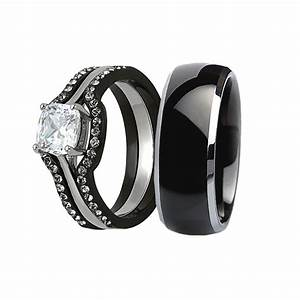 His hers 4 pcs wedding ring set black men titanium for Men and women matching wedding rings