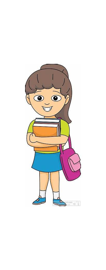 Student Clipart Books Bag Carries Arms Classroom