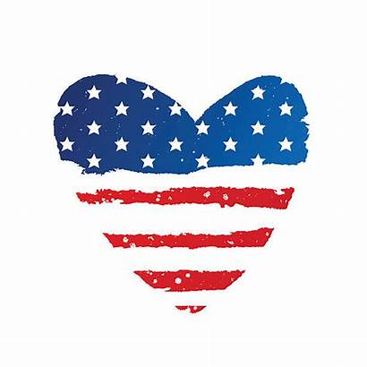 Flag Heart American Clipart Shape Vector Usa