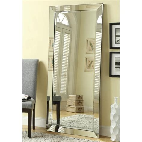 floor mirror glass coaster 901813 silver glass floor mirror steal a sofa furniture outlet los angeles ca
