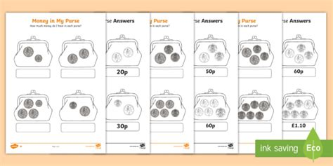 money in my purse differentiated activity sheet money coins