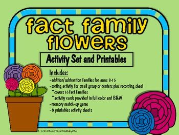 fact family flowers activity set  printables bw