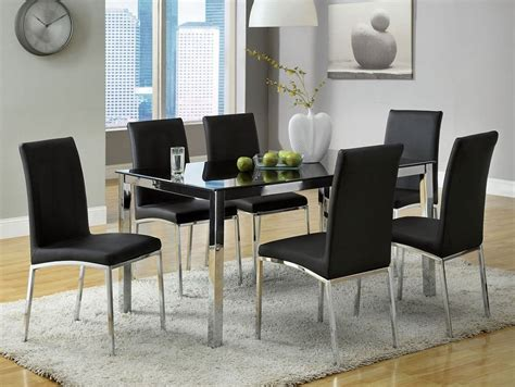 modern black dining table and chairs 7pc maui modern black chrome glass top dining table set